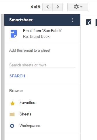 Google Partner Smartsheet add on for GMail