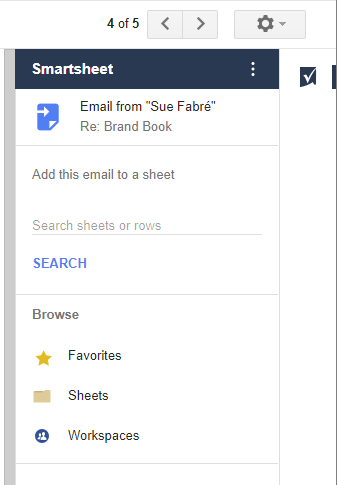 Google Partner Smartsheet add on for GMail