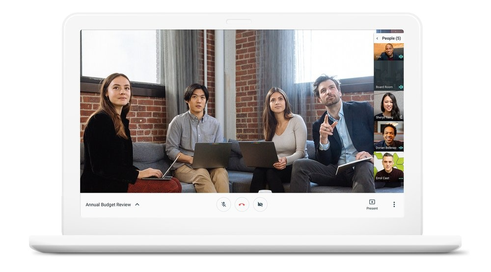 Mobile Working employees meeting video conference with Hangouts