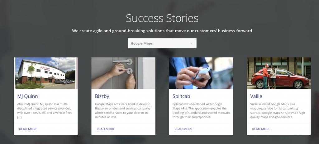 Google Maps customer stories on website