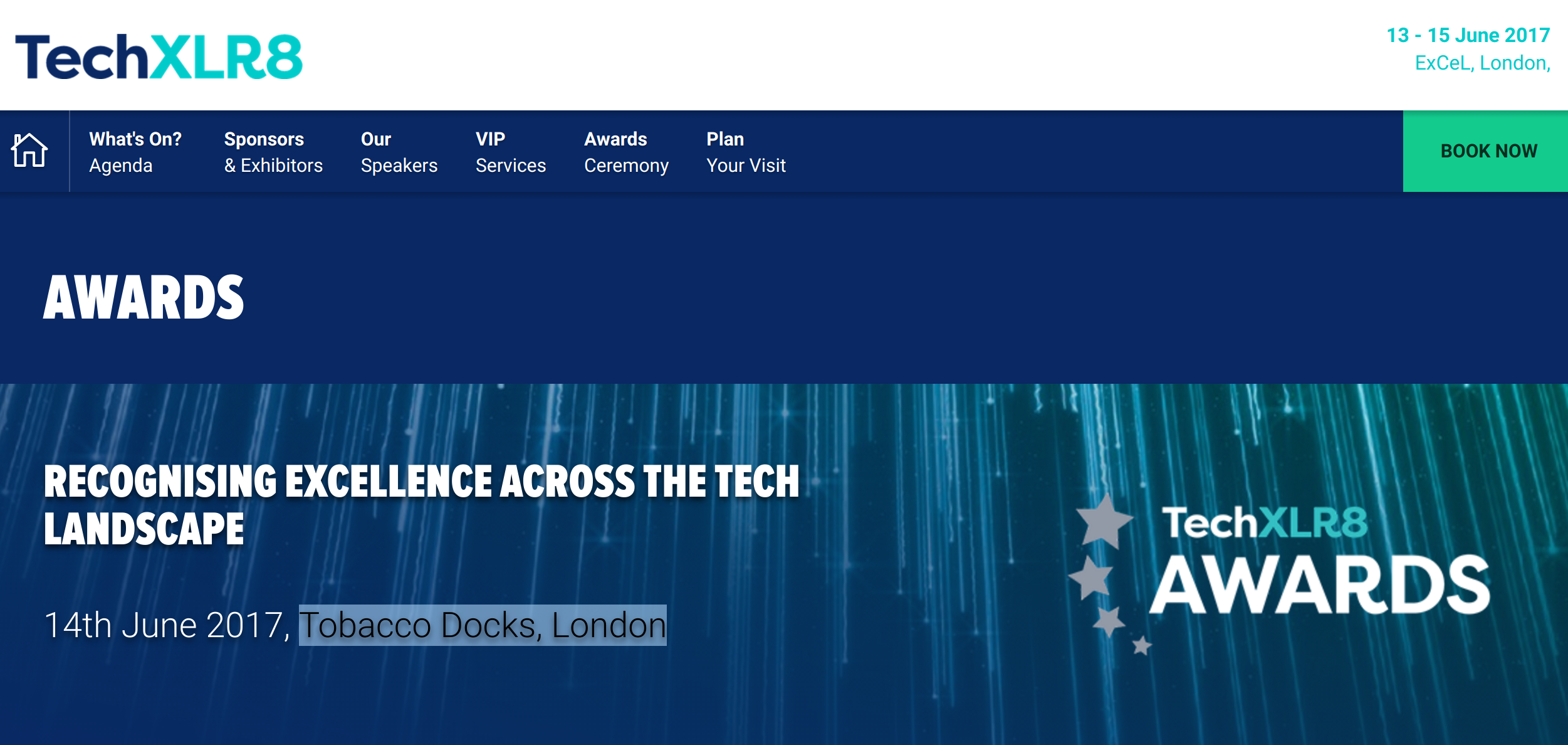 Webpage for TechXLR8 Awards