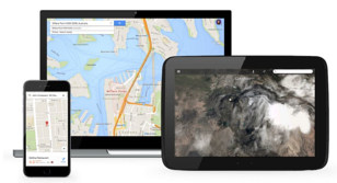 Image of a tablet, mobile and PC showing Google Maps