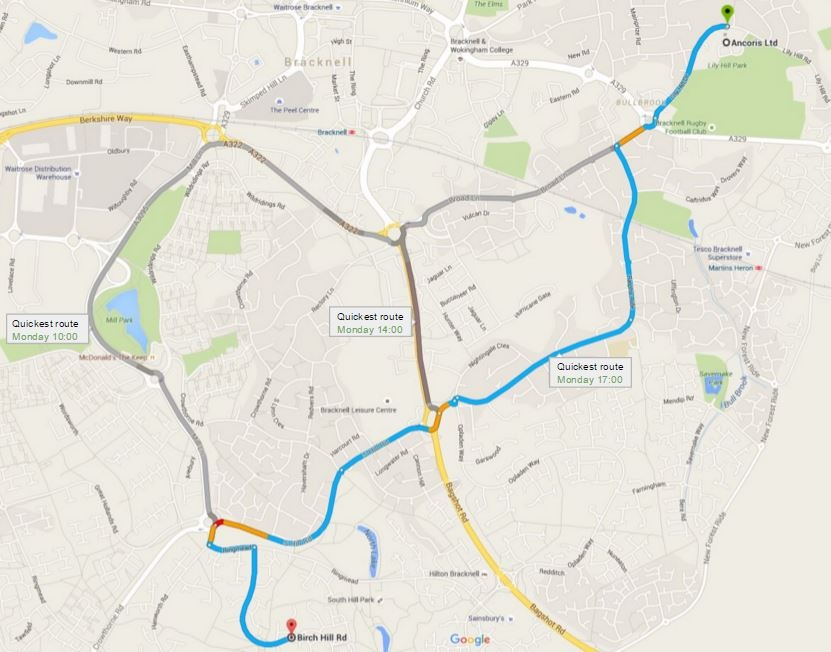 Google Map showing the quickest route