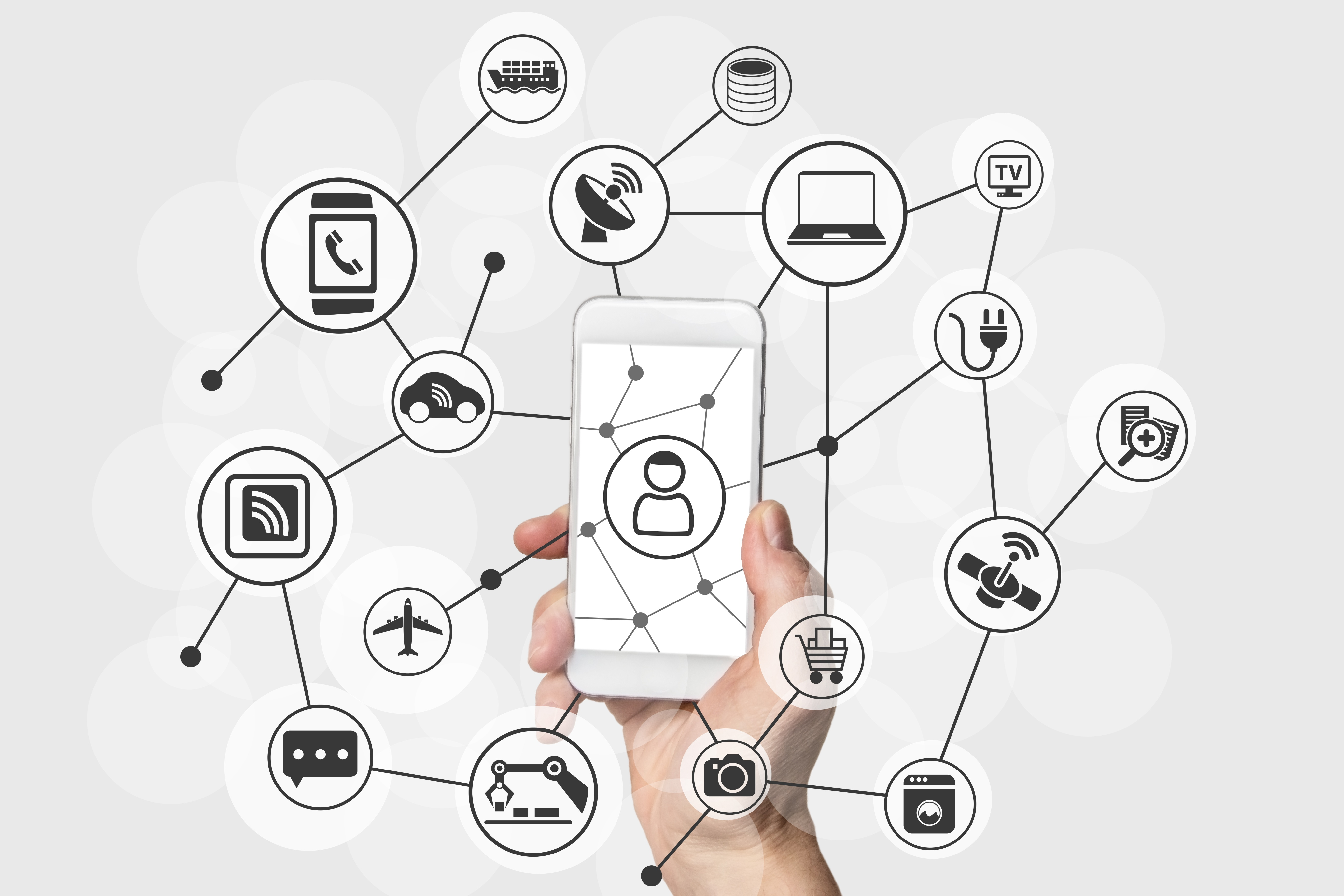 Mobile phone and connected applications inlcund chatbots