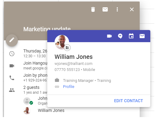 Information cards in G Suite