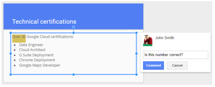Add comments directly to selected text in Google Slides