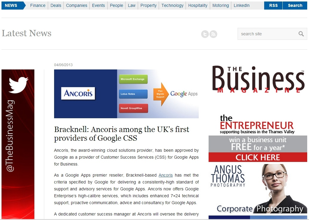 Bracknell-based Ancoris first provider of Google Customer Success
