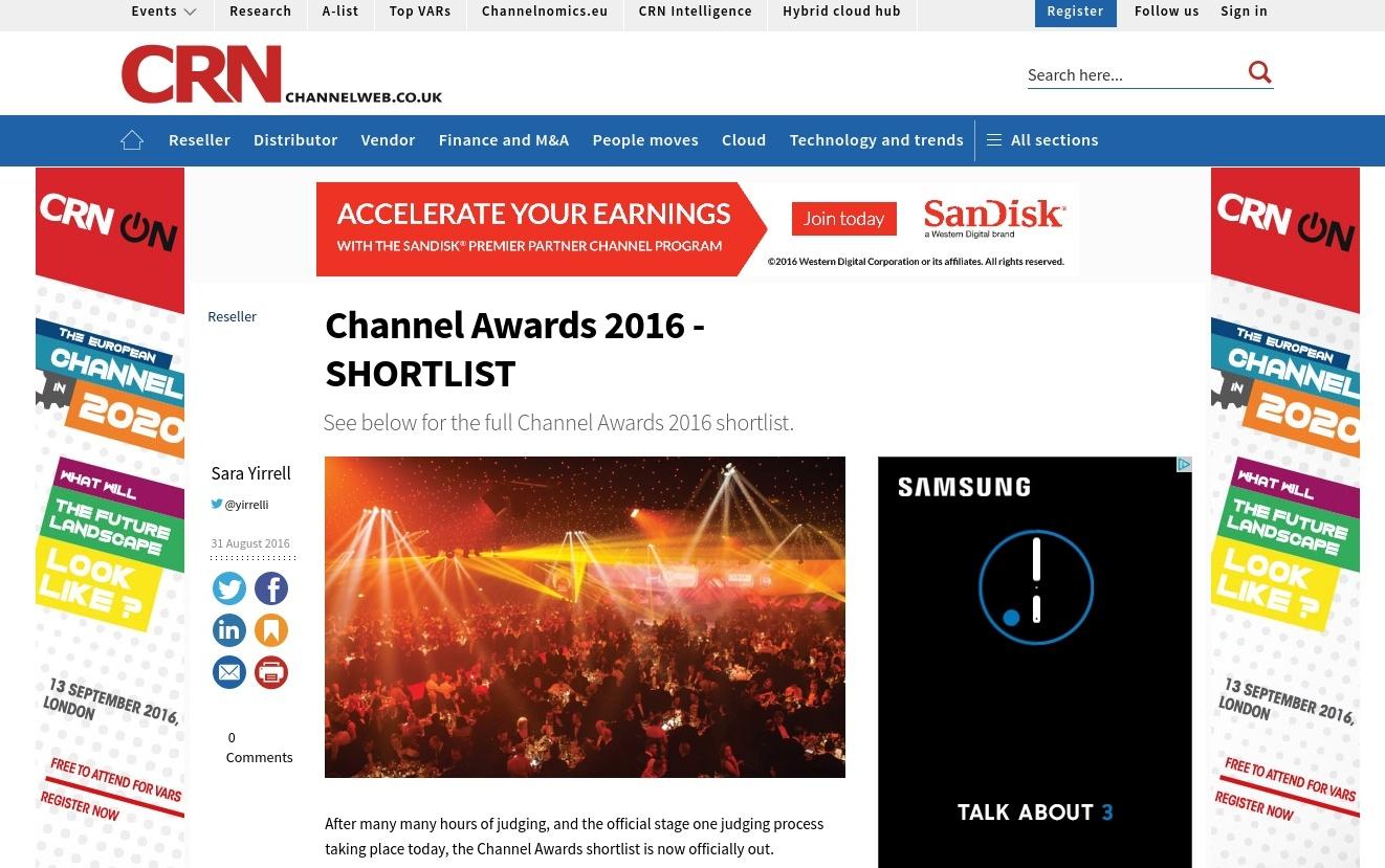 CRN - Channel Awards 2016 Shortlist