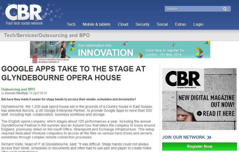 CBRonline - Google Apps Take to the Stage at Glyndebourne